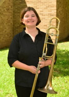Kristen Mercer in a junior music education major from Spring, Texas. She performs with the SFA Jazz band and Trombone choir. She also serves as the section leader of the Jack's portion of the marching band and is principal of Wind Symphony A. She continued her studies in not only trombone but also flute and piano over the summer. She attended Oak Ridge High School in Conroe, Texas where she served in the band leadership for 3 years. She plans to attend graduate studies in non compositional music theory after she graduates. She loves the atmosphere of Nacogdoches, spending time with her friends, and, of course, practicing.