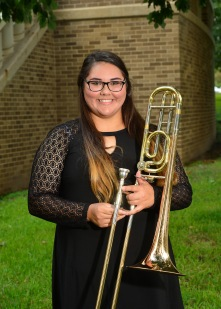 Diana Luna is a senior music major at SFA from Gladewater, Texas. She is also a transfer student from Kilgore College and received her Associates of Arts. She currently performs in the Lumberjack Marching Band at SFA. During her time at Kilgore College, she performed in the marching band, concert band, and the jazz band. While attending Gladewater High School she competed in All-Region, All-Area, and State Solo and Ensemble. She plans to teach middle school and high school bands but would like to teach elementary music classes also. She chose SFA because it has been her dream school since freshman year of high school. One of Diana's favorite things about studying trombone at SFA is getting to listen to everyone perform in the trombone studio.