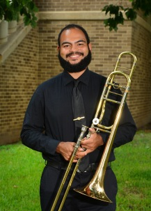 Sterling Davis is a junior music education student from Columbus, Ohio. Before coming to SFA Sterling served as a Corporal in the United States Marine Band aboard the Parris Island Recruit Depot. Here at SFA Sterling participates in many ensembles such, as the Wind Ensemble, Orchestra of the Piney Woods, Swingin' Axes Jazz Band, Trombone Choir, and the student brass quintet Class Act Brass. While in High school Sterling was awarded the Louis Armstrong Jazz Award. Sterlings favorite thing about SFA is coming into his lessons with Dr. Scott and soaking up as much knowledge as he can on a weekly basis.