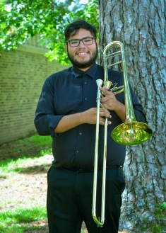 Hebber Aguilar is a sophomore Music Education Major from Dallas, Texas. He has performed with the Symphonic Band, the Lumberjack Marching Band, Trombone Choir and the Roarin' Buzzsaws. He enjoys how caring the SFA School of Music is toward their students as well as how much of a bond students can make with their professors.