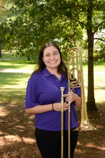 Olivia Scott is a freshman music education major at SFA from Mesquite, TX. She currently performs in the Symphonic Band, Lumberjack Marching Band, and Trombone Choir. Olivia attended Bishop Lynch High School, where she served as Brass Captain and Drum Major, and received the John Philip Sousa award twice. After completing her undergrad, Olivia plans to either further her musical studies or become a secondary level band director. She chose SFA because she believed the trombone studio would allow her to grow as a musician.